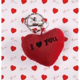 Llavero corazón de peluche I LOVE YOU